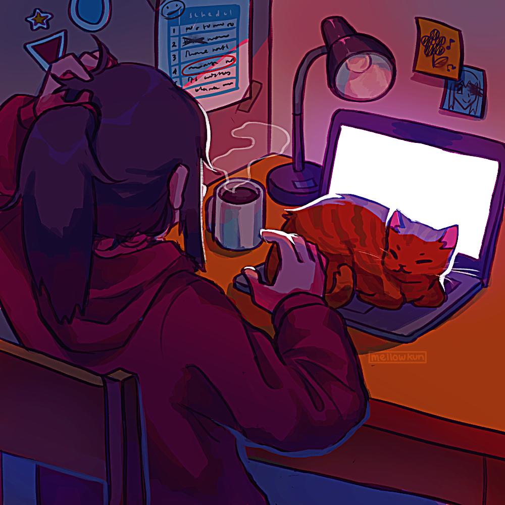 Фото Девочка сидит за столом перед ноутбуком, на котором лежит кошка, by MellowKun
