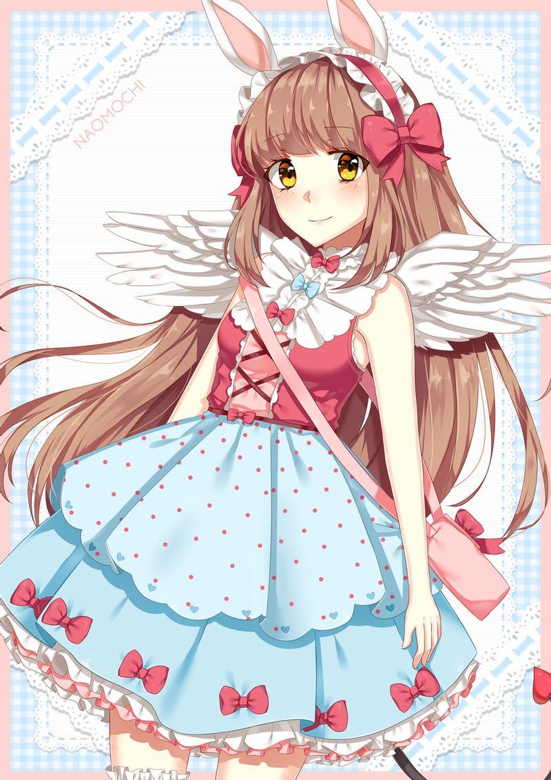 Фото Длинноволосая девушка с белыми крыльями, by naomochi