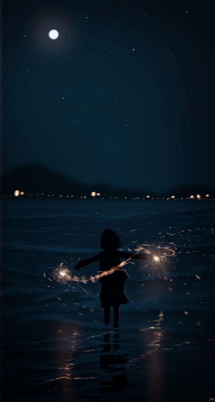 Фото Девушка с бенгальскими огнями стоит в воде, by JW