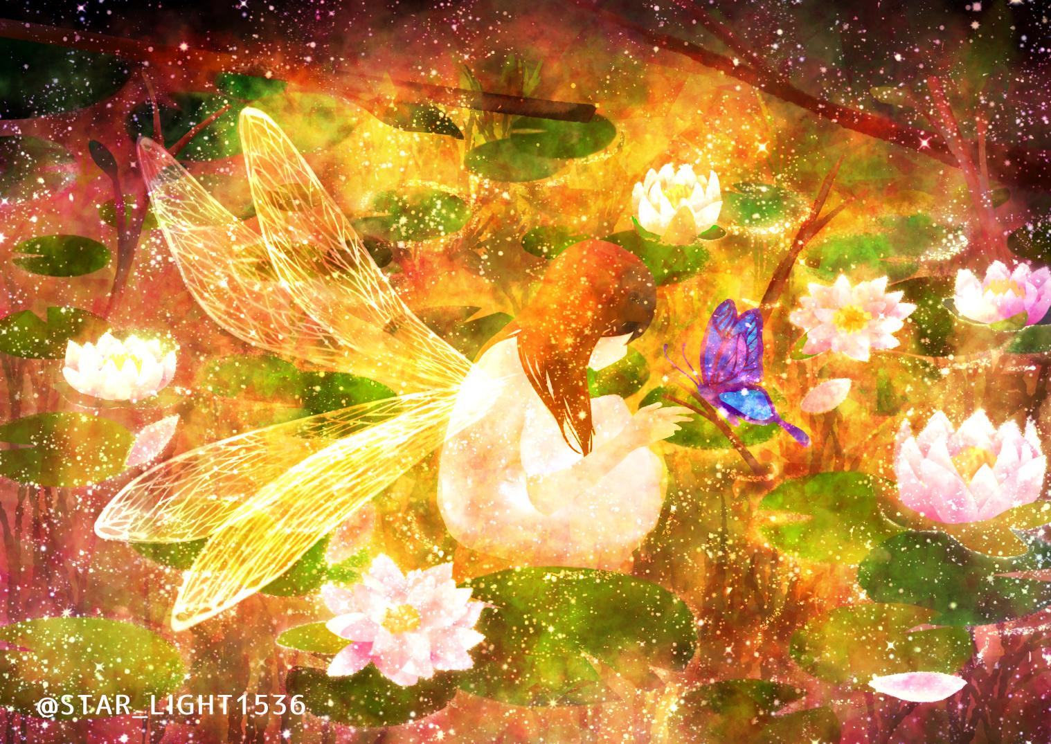 Фото Фея общается с бабочкой, сидя в пруду, by @STAR_LIGHT1536