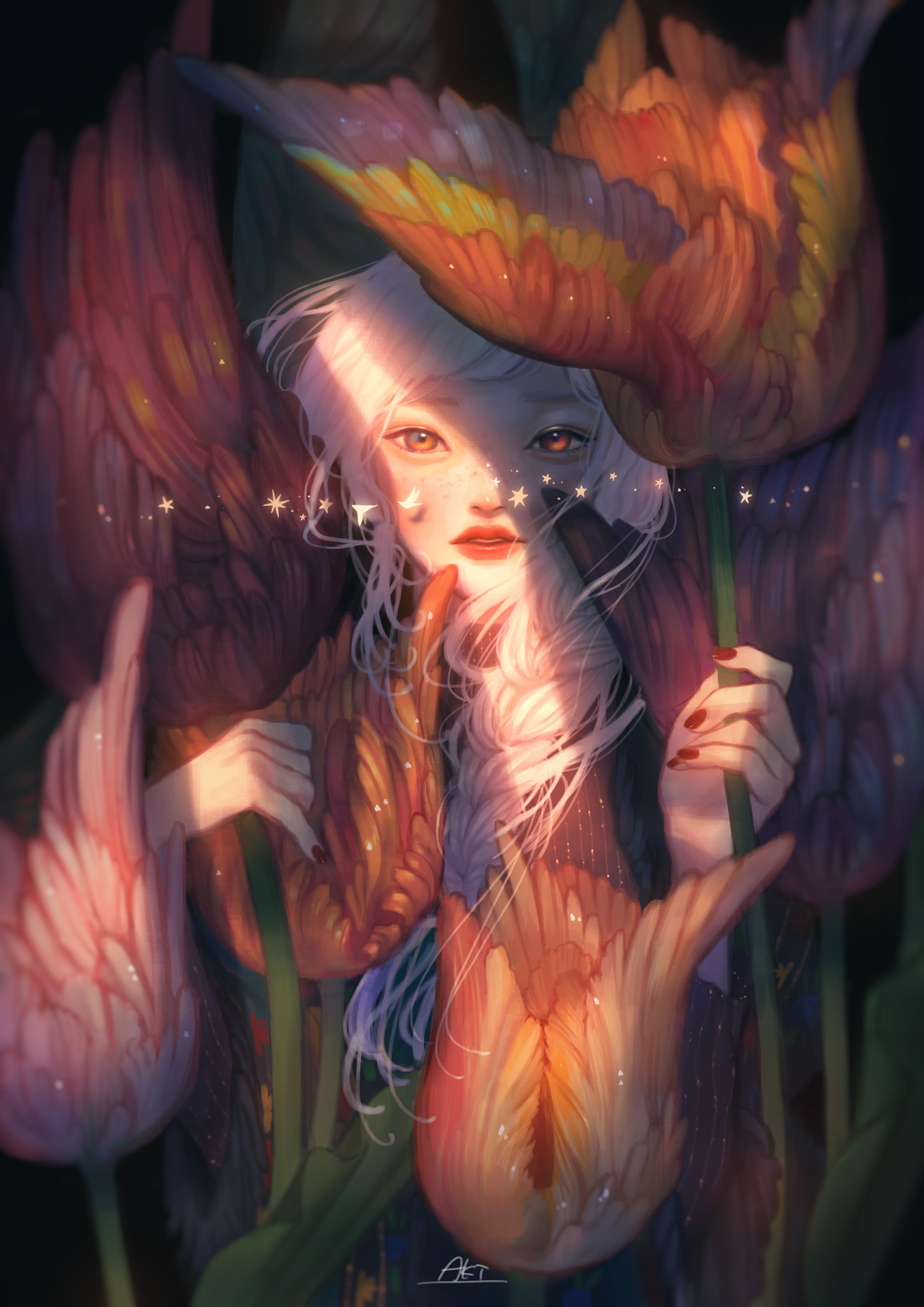 Фото Девушка среди перьевых цветов