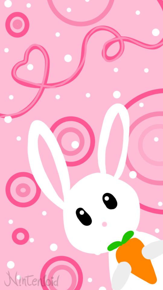 Фото Белый кролик с морковкой на розовом фоне, by nintenloid