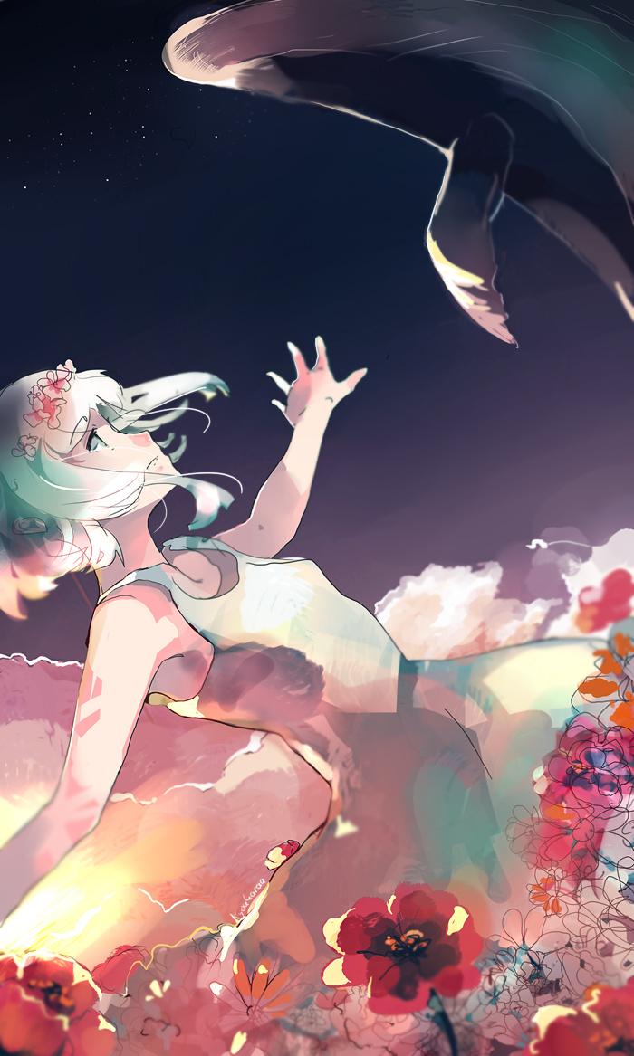 Фото Белокурая девушка наблюдает за дельфином в небе среди цветов, by kyoukaraa