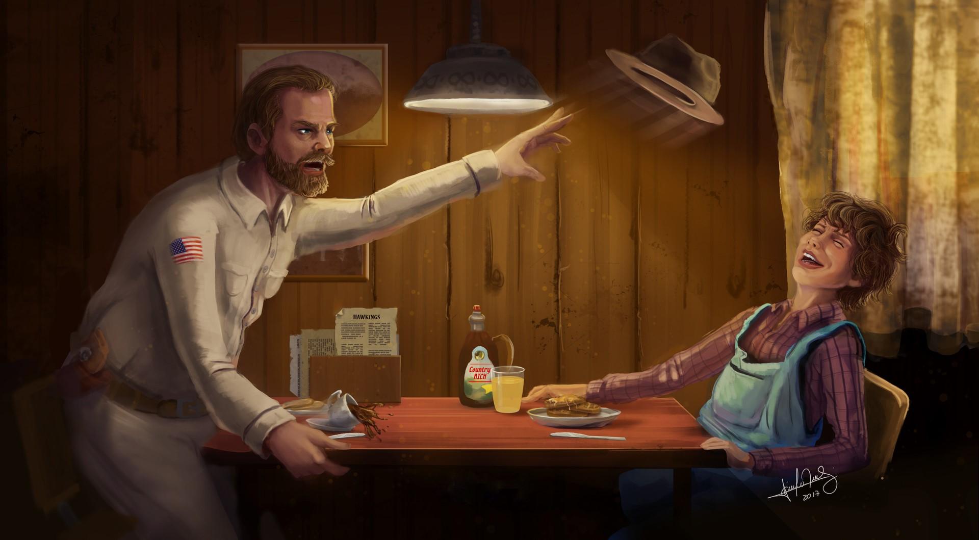 Фото Приемный отец с дочкой Джейн за столом, сериал Eleven and Hopper / Одиннадцать и Хоппер, иллюстратор Giulia Bokel