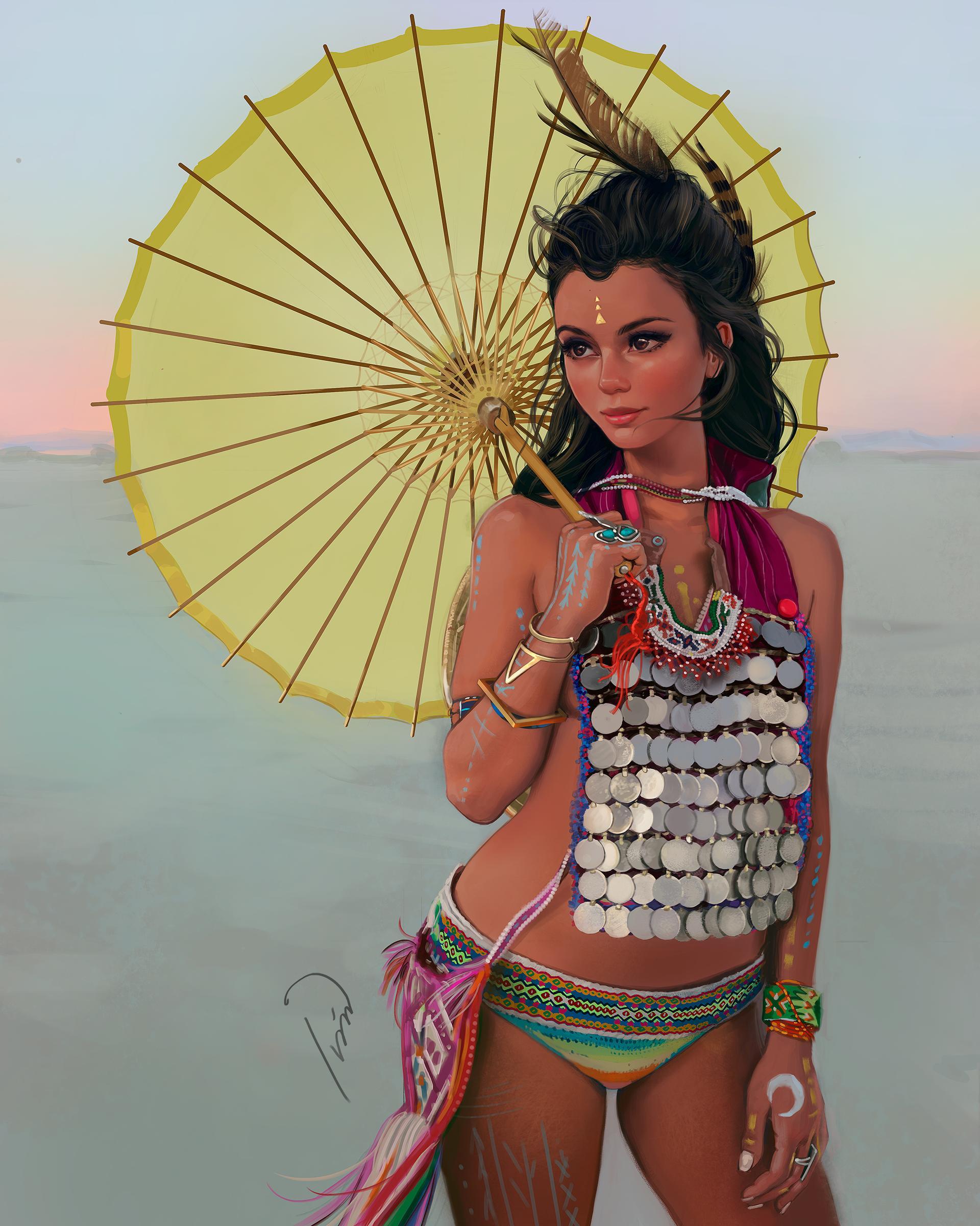 Фото Темноволосая девушка с желтым зонтиком, by ivantalavera