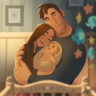 Конкурсная работа Мужчина с любовью обнимает жену и ребенка, by miacat miacat