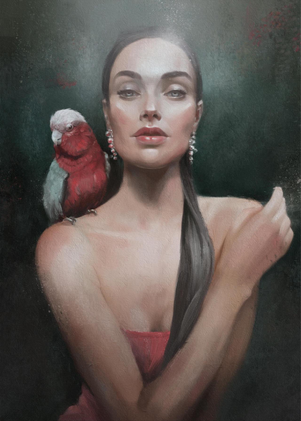 Фото Девушка с попугаем на плече, by SiaAnikeeva