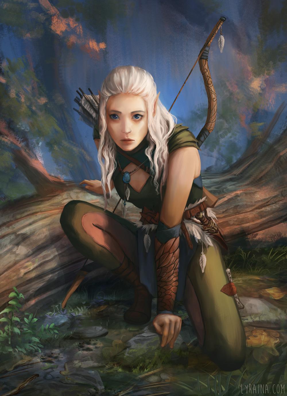 Фото Белокурая эльфийка с луком и стрелами в лесу, by Lyraina