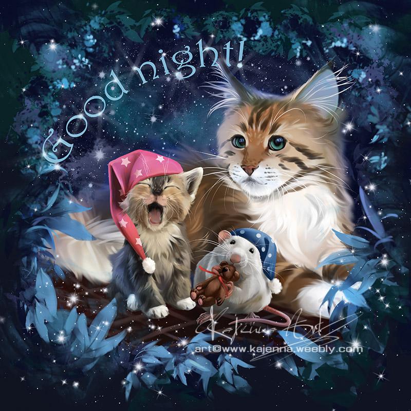 Фото Кошка, зевающий котенок и мышка с плюшевым медвежонком готовятся ко сну, by Kajenna