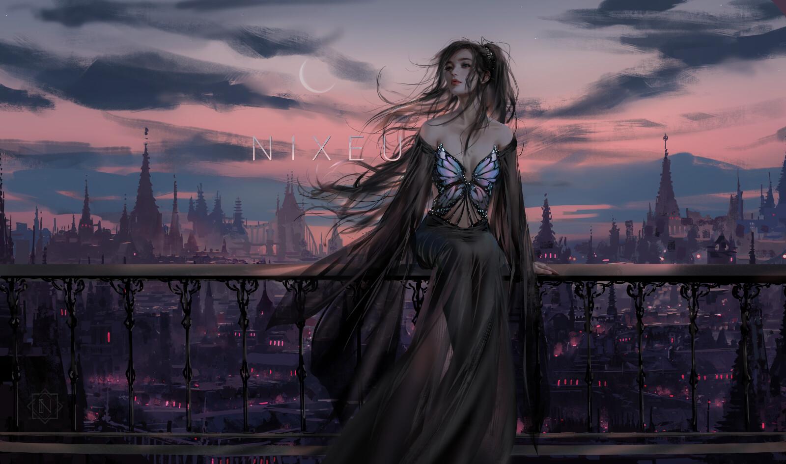 Фото Девушка сидит на ограде на фоне города под облачным небом, by Nixeu