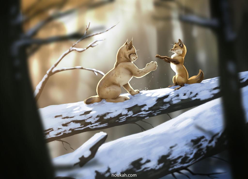 Фото Лисица знакомится с рысью, by Noukah