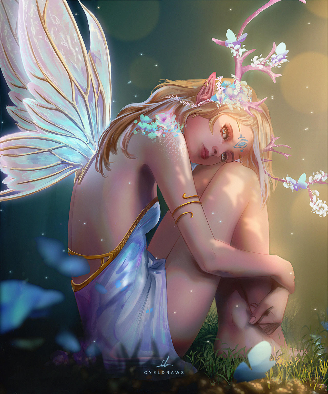 Фото Девушка с крылышками бабочки и рожками на голове, by cyeldraws