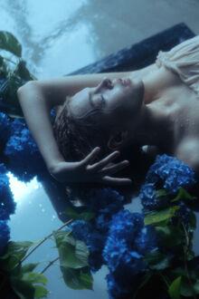 Фото Девушка лежит на мокрой поверхности у голубой гортензии. Фотограф Masha Raymers (© lRB02), добавлено: 10.09.2021 19:02