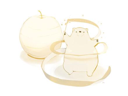 Фото Белый мишка в стеклянной посуде и яблоко на белом фоне (© lRB02), добавлено: 11.09.2021 07:07