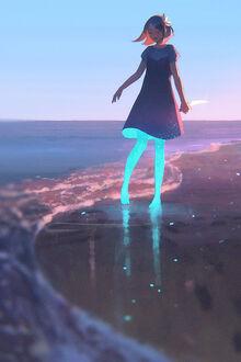 Фото Девушка стоит на побережье (© lRB02), добавлено: 11.09.2021 07:16