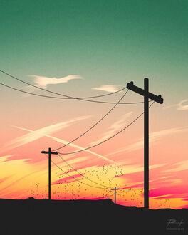 Фото Линии электропередач на фоне закатного неба, by ReedDrawsOnDA (© chucha), добавлено: 11.09.2021 08:07