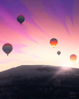 Фото Воздушные шары в лучах закатного солнца, by ReedDrawsOnDA (© chucha), добавлено: 11.09.2021 08:08