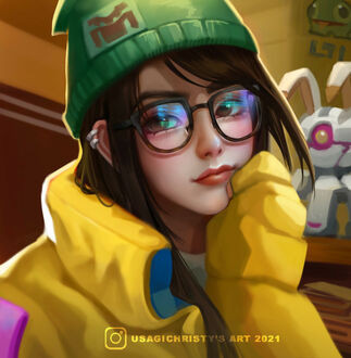 Фото Девушка в желтой куртке и зеленой шапке, с очками на лице (© lRB02), добавлено: 11.09.2021 09:52