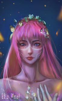 Фото Девушка с длинными розовыми волосами, с сиреневыми глазами на фоне ночного неба, by eliswool (© Мася-тян), добавлено: 12.09.2021 02:20