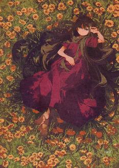Девочка лежит среди цветов, by potg