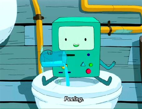Анимация Бимо / BMO сидит в туалете и имитирует действие, присущее человеку (Peeing), Adventure Time / Время Приключений