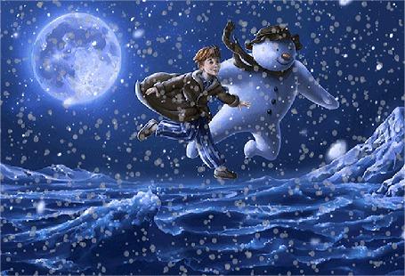 Анимация Мальчик и снеговик летят над заснеженной пустыней в снегопад на фоне большой планеты на небе