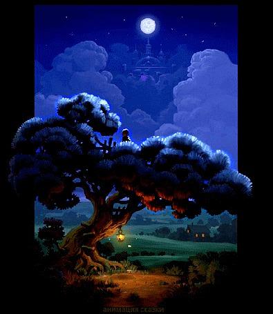 Анимация Нарисованный человек сидит на дереве и смотрит на луну над еле заметным зАмком