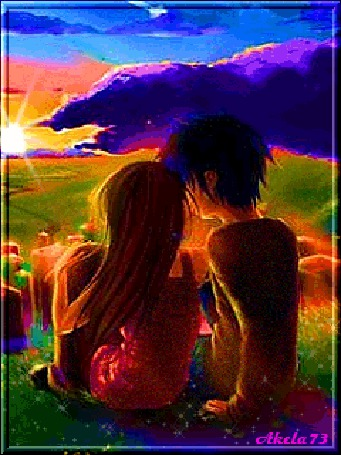Анимация Парень и девушка сидят на лугу и смотрят на закат Солнца, Akela73