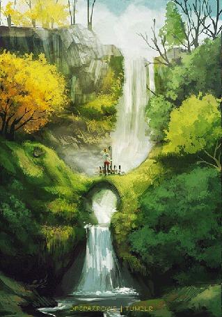 Анимация Девушка и гуси смотрят на водопад (© Krista Zarubin), добавлено: 22.02.2015 14:01