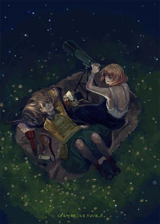 Анимация Две девушки и ночной звездопад