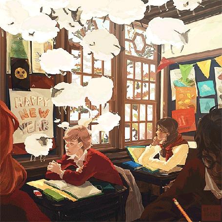 Анимация Ученики сидят в классе, в котором летают овцы, за окном идет снег (Happy new year)