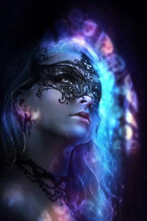 Анимация Девушка с неоновыми волосами в ажурной маске