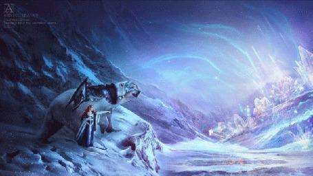 Анимация Девушка с флагом показывает белому медведю в боевой экипировке рукой на другой берег, вокруг снега, горы и северное сияние