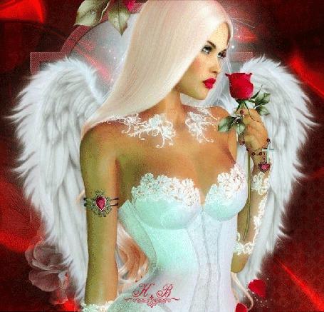 Анимация Девушка-ангел с розой в руке (© Lady X), добавлено: 26.03.2015 00:11