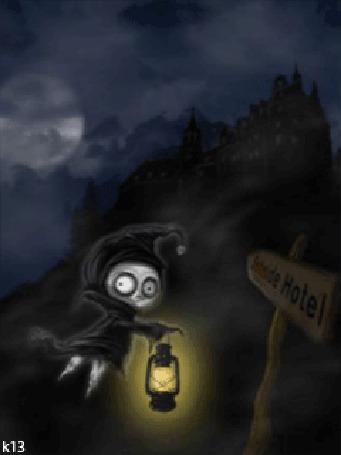Анимация Маленький демон в черной одежде с фонарем в руке летит к замку стоящему на горе, рядом летит летучая мышь, стоит табличка - указатель, из которой появляется призрачный череп в клубах дыма. Ночь, светит полная луна, мимо которой плывут облака, художник Daniela Uhlig / Даниэла Улиг (Seaside Hotel) (© chucha), добавлено: 26.03.2015 00:42