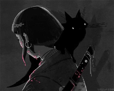 Анимация Черная кошка сидит у девушки на плече