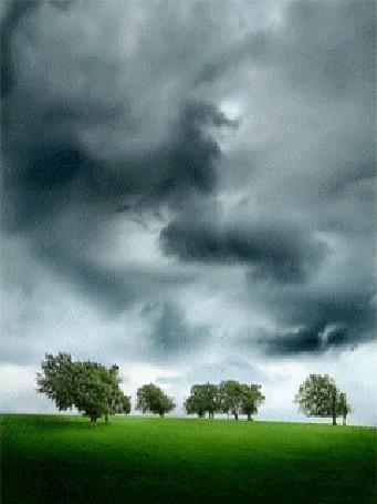 Анимация С пасмурного неба, затянутого тучами бьют яркие молнии (© Anatol), добавлено: 26.03.2015 15:17