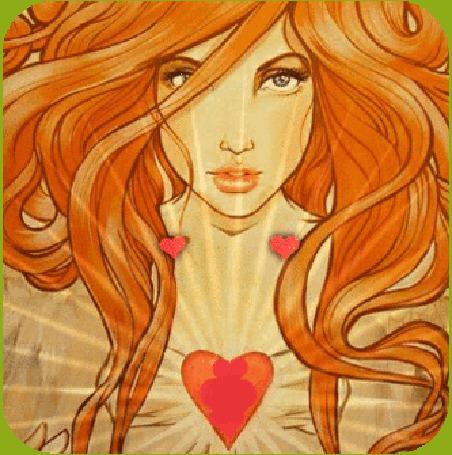 Анимация Рыжеволосая девушка с сердечками