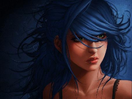 Анимация Девушка с пышными черными волосами, по работе иллюстратора Viet My Bui (© Akela), добавлено: 26.03.2015 17:03