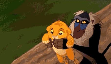 Анимация Рафики / Rafiki бросает львенка Симбу / Simba с обрыва, мультфильм Король Лев / Lion King