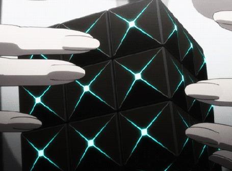 Анимация Вращающийся кубик рубика из аниме Psycho-Pass / Психо-паспорт