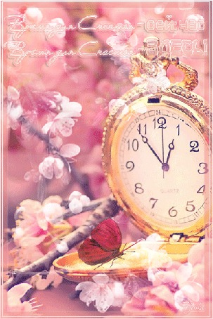 Анимация На часах сидит бабочка, распускаются цветочки.(Время дл Счастья-сей:час. Время для Счастья-Здесь! ) (© туська), добавлено: 26.03.2015 21:15