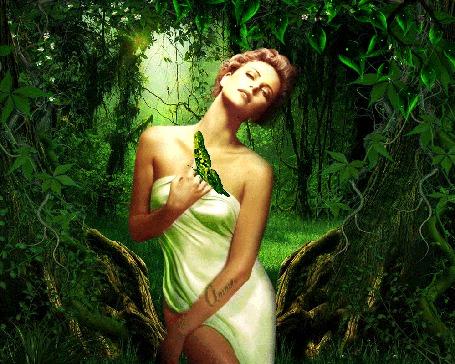 Анимация Девушка среди леса, на руке бабочка (© Bezchyfstv), добавлено: 26.03.2015 23:54