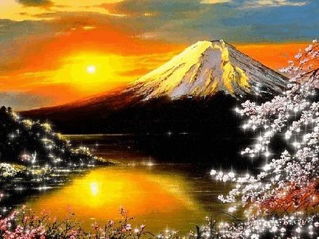 Анимация Гора, освещенная солнцем, река и сакура (© Solist), добавлено: 27.03.2015 13:53