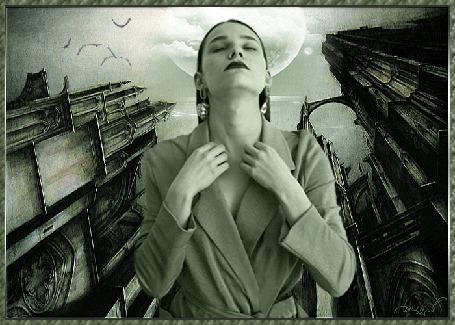 Анимация Девушка стоит среди пустынного города, глаза закрыты, руками держится за ворот пиджака, на заднем плане море, луна, облака, птицы