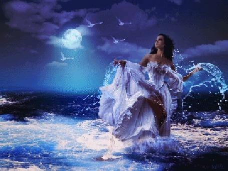 Анимация Девушка стоит в бурном море, смотрит на летящих в небе птиц на фоне полной луны (© царица Томара), добавлено: 28.03.2015 00:43