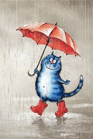 Анимация Голубая кошечка гуляет под дождем в красных сапожках под красным зонтом
