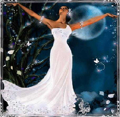Анимация Девушка в белом платье с раскинутыми руками (© elenaiks), добавлено: 28.03.2015 06:25