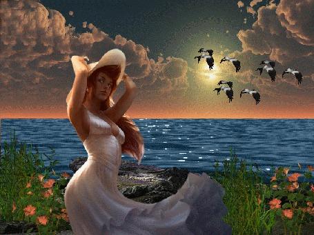 Анимация Девушка в белом платье стоит у воды и придерживает руками белую шляпу от порывов ветра, над водой летят журавли (© Akela), добавлено: 28.03.2015 19:18