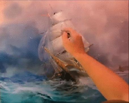 Анимация Рука рисует пейзаж, корабль на море (© Георгий Тамбовцев), добавлено: 29.03.2015 16:14